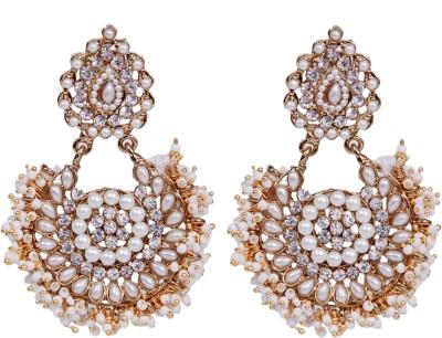 Grand Jewels NSE1011 Cubic Zirconia, Pearl Alloy Dangle Earring