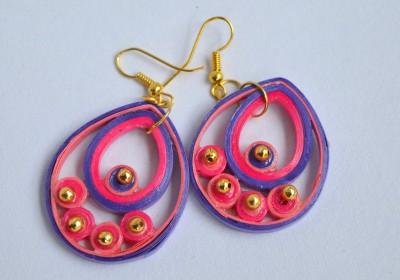Kaagitham Purple And Pink Tear Paper Dangle Earring