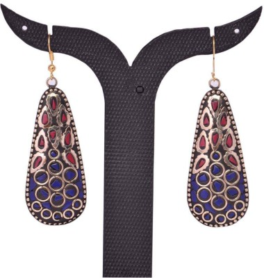 Tradition India TI264 Handmade Designer Stone Studded Traditional Lac Worked Brass Drop Earring