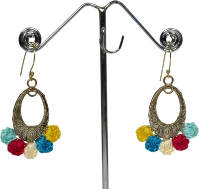 Angelfish Colourful Thread Combination With German Silver Finding Metal Dangle Earring