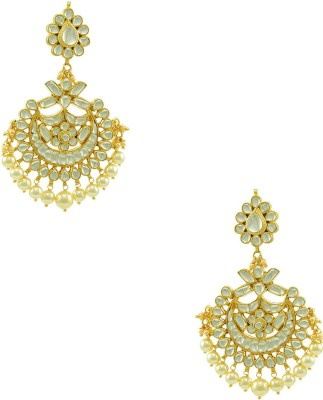 Orniza Jadau Kundan Chaand Bali Fashion Brass Dangle Earring at flipkart