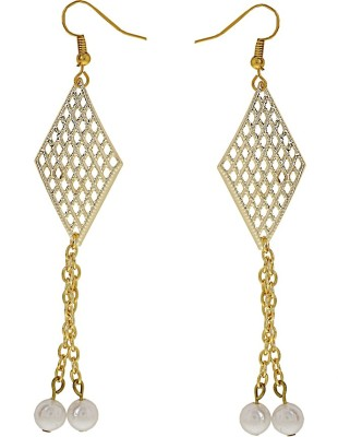 Niara Pearl Hanging Studs Metal Dangle Earring