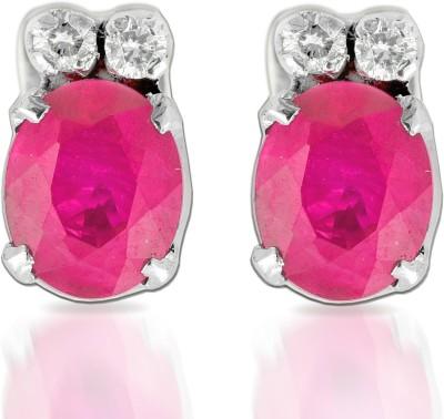 Ijuels Love & Diamonds Forever White Gold Diamond, Ruby Stud Earring