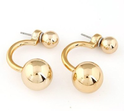 Gliteri Trendy Golden Double Trouble Semi Hoop Style Alloy Plug Earring