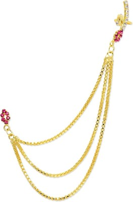 Trinketbag Pink and gold long chain Alloy, Glass Cuff Earring
