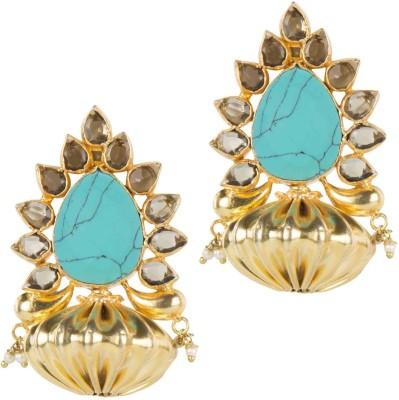 Mehtaphor Urja-2 Turquoise Brass Stud Earring