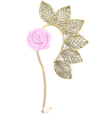 Ammvi Multi Leaves With Baby Pink Rose Charm Brass Cuff Earring