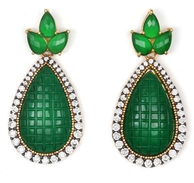 Magiq Pineapple Sparkle Stone, Brass Drop Earring