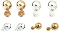 FashBlush Hot Shining Double Sided (Set Of 4Pairs) Crystal Alloy Stud Earring