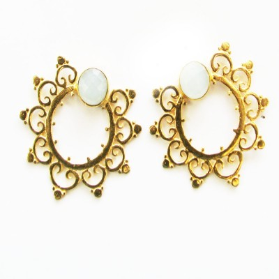 Bhrti designer studs Chalcedony Brass Stud Earring