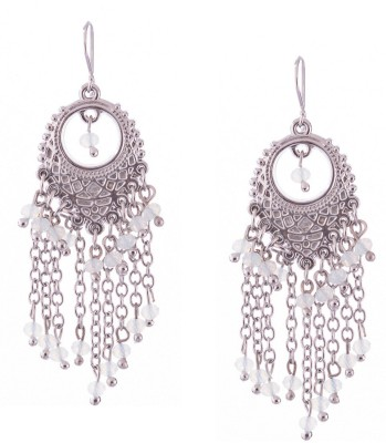 Trinketbag Silver and white beaded chain Alloy, Glass Dangle Earring