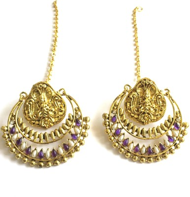 Arkina Diamonds Purple Temple Brass Chandbali Earring