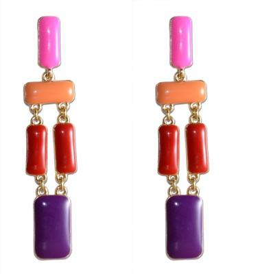 Colors of Sin Enamel Geometric pink purple Alloy Dangle Earring, Drop Earring