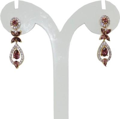 Anjan Appealing Designer Golden Cubic Zirconia Brass Drop Earring