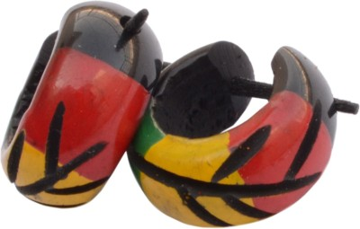 Foppish Mart Pair Of Colourful Leaf Carved Wooden Bali/Hoop For Men Beads Wood Stud Earring