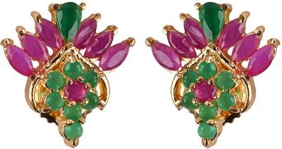 Gazal Jewels Flower Zircon Copper Huggie Earring