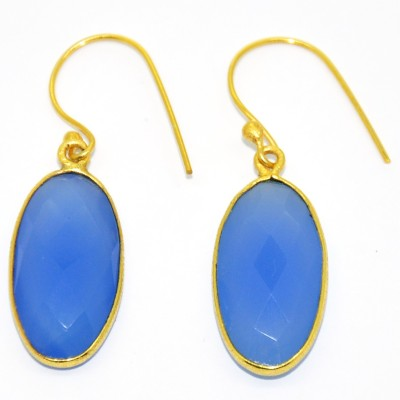 Casa De Plata Oval Blue Chalcedony Brass Earring Chalcedony Brass Dangle Earring