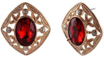Golden Petals Sparkle V Alloy Stud Earring