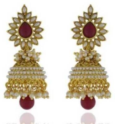 Happyshoppi New Designed Pearl Brass, Copper Jhumki Earring