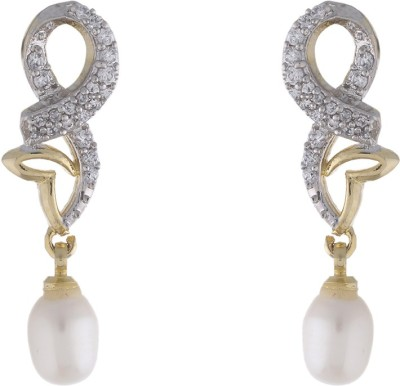 Jewel Planet Heart Shape Pearl Alloy Drop Earring
