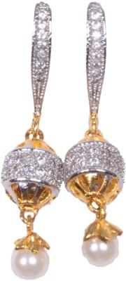 Navya Sparkling Pearl Ear Rings Cubic Zirconia Alloy Drop Earring