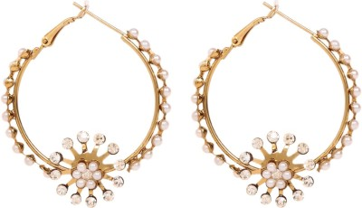 Arum Arum Golden With Pearl Style Fashion Alloy Hoop Earring