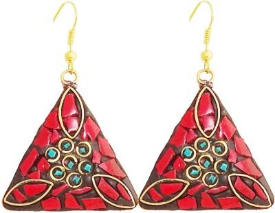 Gems N Pearls Mosaic Brass Dangle Earring