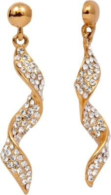 Royal Long Golden And Silver Swarovski Crystal Alloy Dangle Earring