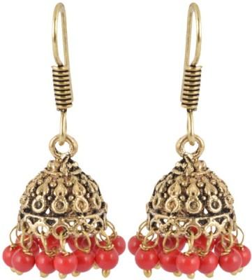 Waama Jewels Golden Brass Jhumki colorfull collage girl Womens earrings Metal Jhumki Earring