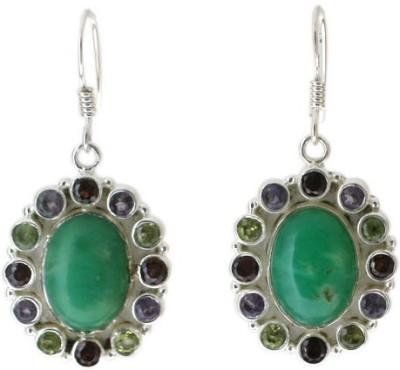 Aabhushan Aabhushajewels Onyx, Turquoise, Garnet Sterling Silver Dangle Earring
