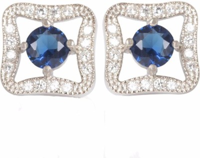 TUAN square shaped Cubic Zirconia, Sapphire Sterling Silver Stud Earring
