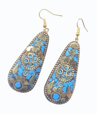 Pearls India Star Blue Metal, Lac Dangle Earring