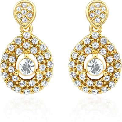 Oviya Evening Blush Crystal Alloy, Brass Dangle Earring