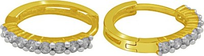 The Fine World White Stones Zircon Metal Huggie Earring