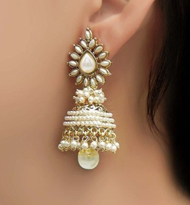 Shining Diva Bollywood Movie Aashiqui 2 Inspired Beads Polki White Pearl Alloy Jhumki Earring