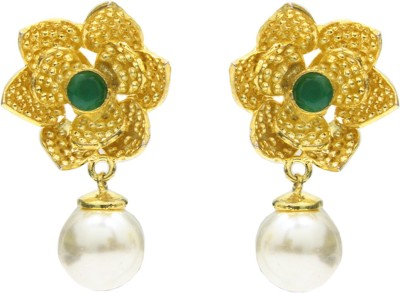 Eighth Fold Floral Green Stone and Pearl Pearl Brass Drop Earring