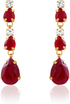 Oviya Charismatic Crystal, Ruby Alloy, Brass Dangle Earring