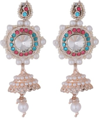 Belenteno Rose Color Plating Crystal Alloy Jhumki Earring