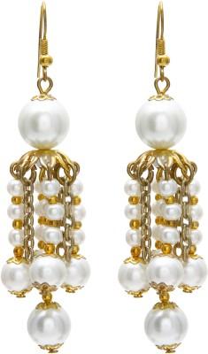 Galz4ever White & Gold Designer Alloy Jhumki Earring