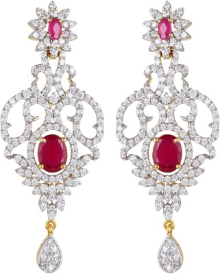 Moda Stella Vine Leaf Red Brass Chandelier Earring