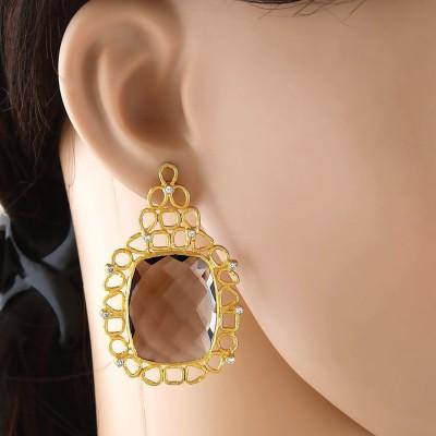 VelvetCase Arty Smoky Quartz Earrings Topaz Silver Stud Earring
