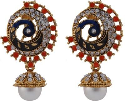 TM FASHIONS Pearl Golden Peacock Inspired Brass Jhumki Earring
