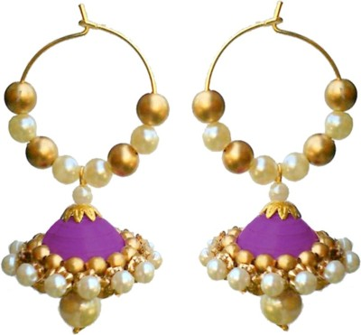 Make My Jhumkas White and Violet Paper Hoop Earring