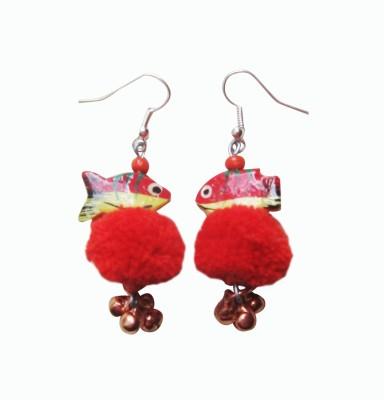 Juhi Malhotra Red Fish Beauty Wood Drop Earring