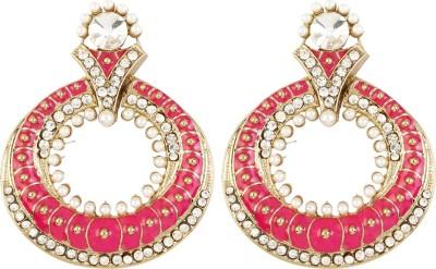 Radius Queens Pink Zircon Metal Chandbali Earring