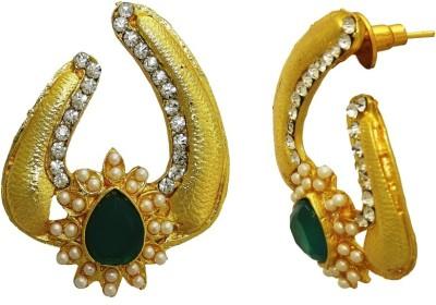 Aarnaa Wedding Wear Momen Green Stud Alloy Stud Earring