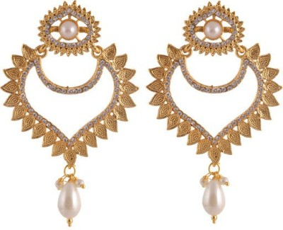 Sewad Elegant Light weight golden with pearl hanging white for women Copper Chandbali Earring