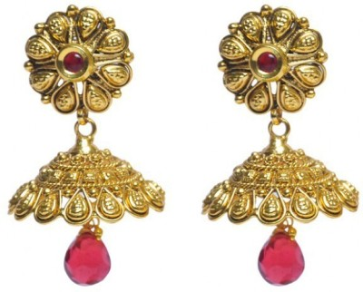 Jillcart Gold Plated Jhumka Ruby Red Stones Ruby Copper Jhumki Earring