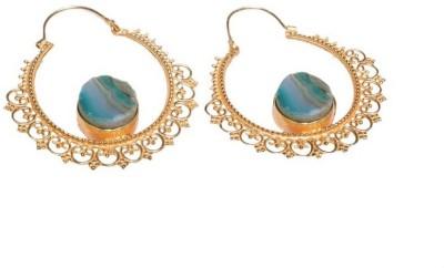 Gharaz Green agate bali Brass Hoop Earring