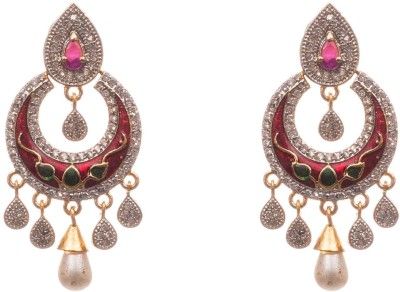 lahari enterprises Fashion Pearl, Zircon Alloy Chandbali Earring